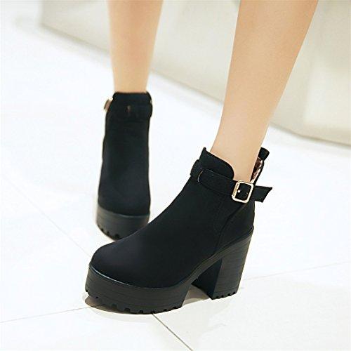 ZQ@QX In autunno e in inverno, testa tonda impermeabile dello spessore di Taiwan con scarpe con i tacchi alti e versatile stivali nude fashion ladies Cilindretto corto ladies boot black
