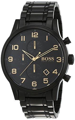Hugo Boss Herren-Armbanduhr Aeroliner Black and l'oro del cronografo al quarzo in acciaio inox rivestimento 1513275