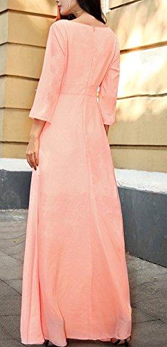 Frauen Chiffonkleid Cocktailkleid Maxikleider Die Neue Lang Taille Dreiviertelarm Ärmellos Frontreißverschluss Vintage Dünn Normallacks Elegant 2017 Pink