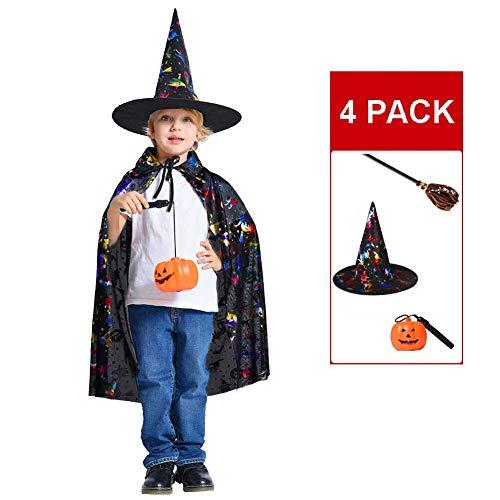 GLXQIJ Unisex Kinder Cape Mantel Kit Mit Hut, Teufel Dämon Hexe Halloween Weihnachten Cosplay Kostüme, 90 cm,Multicolor,4PCSC (Hut Für Erwachsene Kostüm Kit)