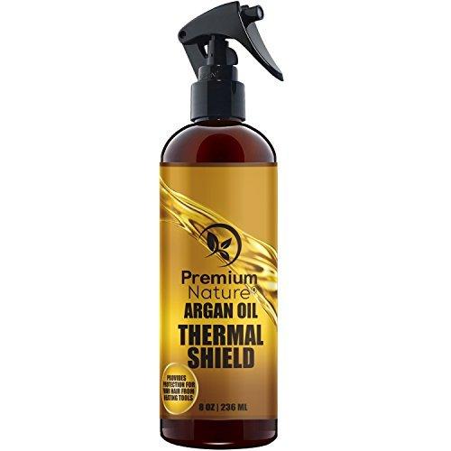 Premium Nature Huile d'argan Cheveux Protector 100% bio Spray, -8 Oz- Protège et Soigne les cheveux de la chaleur, fer plat, Sèche-cheveux Medium clair