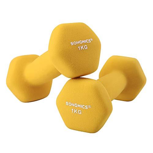 SONGMICS Women's SYL62YL 2er-Set Hanteln 0,5 kg, 1 kg, 1,5 kg, 2 kg, 3 kg, 4 kg & 5 kg Kurzhantel Gymnastikhantel Vinyl in Verschiedenen Gewichts-und Farbvarianten, Gelb, 13.5 x 6 cm -