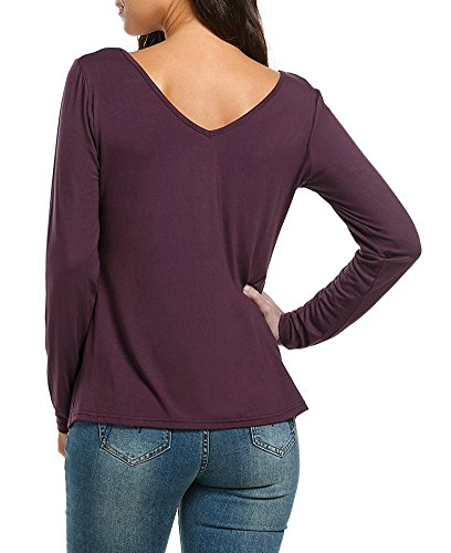 Scollo Attraversare V Vintage Eleganti Lunga Donna Shirt Manica T U1q0pw