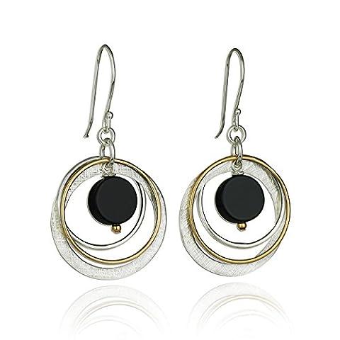 Boucles d'oreilles multi anneaux en argent sterling 925et or 14carats avec onyx noir