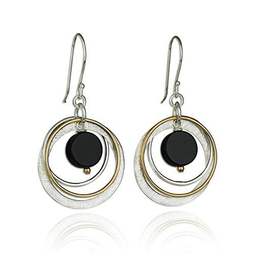 Zwei Ton Schwarz Onyx Multi Spannreifen Kreis Ohrring 925Sterling Silber & 14K Gold gefüllt Baumeln Ohrringe (Gold Disc Baumeln Ohrringe)