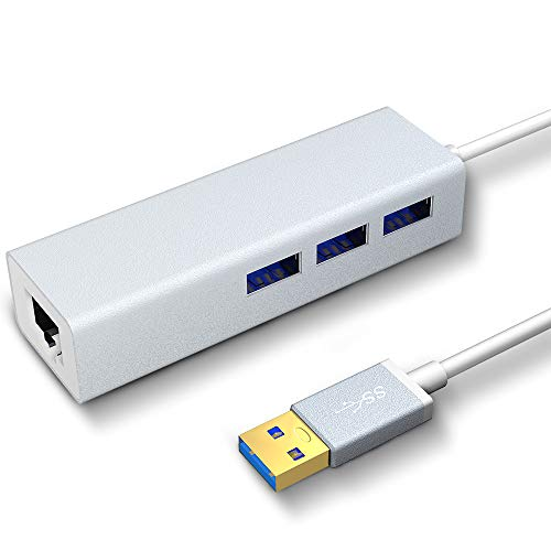 VersionTECH. Hub Ethernet con 3 USB Puertos con RJ45 Adaptador de Red de 10/100M,Hub USB 3.0 LAN para Macbook, Chromebook, Windows 10, 8.1 8, 7, XP, Vista, Mac OS X 10.11,Surface Pro, Wii (Plata)