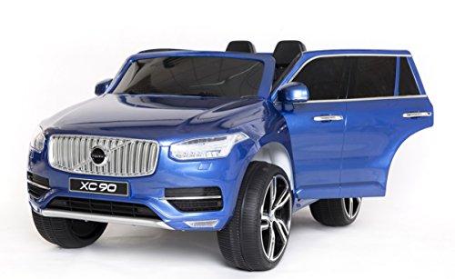 RIRICAR Volvo XC90 Voiture-Jouet électrique pour Enfant, Bleu Peinture, 2.4Ghz contrôle á Distance, Deux Moteurs, Deux sièges en Cuir, Roues EVA Douces, Licence Originale