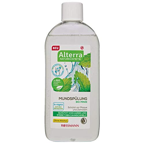 Alterra Mundspülung Bio-Minze 450 ml schützt vor Plaque & Zahnstein, schützt vor Karies & stärkt den Zahnschmelz, mit BIO-Sanddornfruchtwasser, ohne Alkohol, vegan, zertifizierte Naturkosmetik