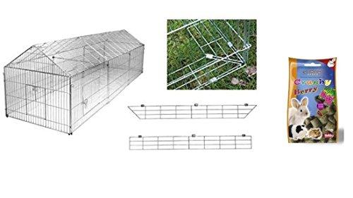 Freilaufgehege mit Ausbruchsperre 330 x 103 x 103 cm Freigehege für Kaninchen, Hasen, Hühner Gehege Auslauf Nager Freilauf Hasengehege Hühnergehege