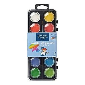 Lefranc & Bourgeois - Caja de plástico con 12 Pastillas de Gouache de 28 mm y Accesorios
