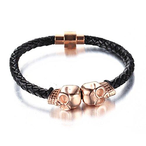 LOPEZ KENT Punk Mens Twin Skull Stainless Steel Genuine Leather Rope braid Bracelet,Rose Gold