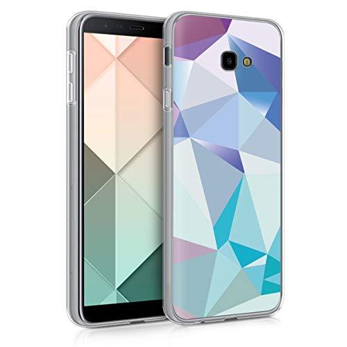 kwmobile Samsung Galaxy J4+ / J4 Plus DUOS Hülle - Handyhülle für Samsung Galaxy J4+ / J4 Plus DUOS - Handy Case in Dreiecke Asymmetrie Design Hellblau Rosa Blau