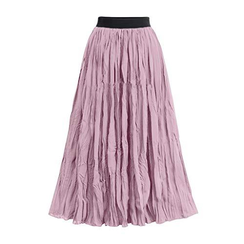 Xmiral Röcke Damen Hohe Taille Falten Einfarbig Rock A-Linie Mittellanger Röcke Elegant Wilde Abend Party Ziemlich Rock Elastische Taille(Rosa,L) - Banner Raglan