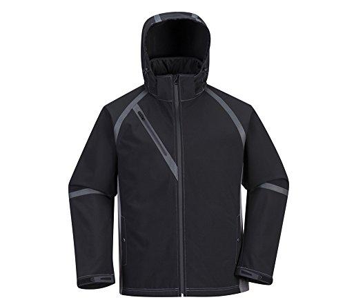 Wasserdichte Arbeitsjacke, Waterproof Windjacke, Softshell Micro-Fleece Futter - abnehmbare Kaputze - Für Mann und Frau - Schwarz - XL