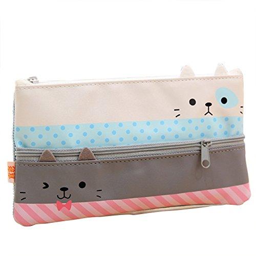 mackur Mädchen Cat Muster Pen Tasche Bleistift Fall Halter Süße Aufbewahrung Kosmetik Tasche Tasche für Schule Büro 1 -