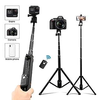 AFAITH 3 in1 Kamera-Telefon-Stativ, Selfie Stick Ausziehbares Stativ Bluetooth-Fernbedienung Selfie-Stangen für iPhone XS Max 8 Plus Galaxy S10 Smartphone und Kamera GoPro Hero7 Black DJI Osmo Action