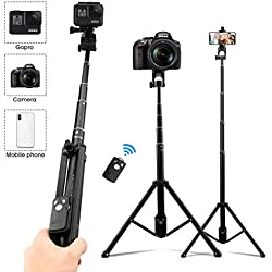 AFAITH Trépied pour Téléphone Appareil Photo, Extensible Perche Selfie Stick Bluetooth à télécommande pour iPhone XS Max 8 Plus Galaxy S10 S9 Smartphone et Appareil Photo GoPro Hero 7/6/5 Black