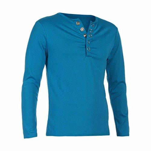 Elecenty Herren Sweat Pullover Hemd ,Neue Langarmshirts Solide V-Ausschnitt Herbst Winter Bluse Poloshirt Männer Hoodie Sweatshirt Hemden Hemdbluse (XL, Hellblau)