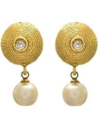 JFL - Traditional Ethnic One Gram Gold Plated Designer Earrings With Pearl Dangler For Girls & Women