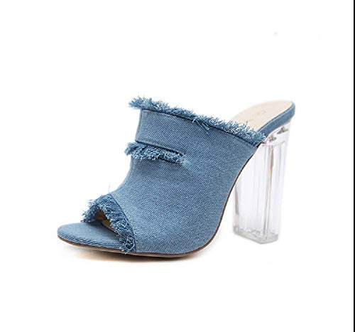 NBWE I Sandali con Il Tacco Alto di Jeans Indossano L'Europa e l'America selvaggiamente Trasparenti con Sandali e Ciabatte da Donna