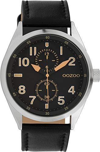 Oozoo Herrenuhr mit Lederband 42 MM Schwarz/Schwarz C10029