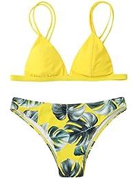 Bikinis Mujer,Dragon868 2018 Mujeres triángulo de baño hojas de impresión bikini conjunto