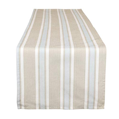 Dibor - Tischläufer, extra lang, maschinenwaschbar, Blau/Weiß gestreift