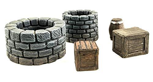 WWG Fantasy Village Set of Wells, Crates & Barrels – 28mm Medieval  Wargaming Terrain Model Scenery
