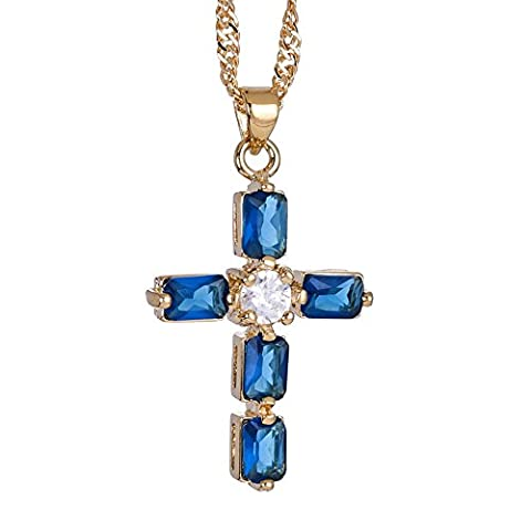 Rizilia Bijoux 18K plaqu¡§? or jaune Crucifix Croix Emerald Cut Bleu saphire Couleur Gem Pierre Glisser Pendentif Collier Avec (Longueur 48cm / 18inch) Cha?ne gourmette [Bijoux gratuit Pouch]