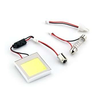 Panneau 48 COB LEDs Blanc 12V + Adaptateur T10 BA9S Navette