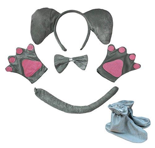 Elefant Stirnband Grau Schleife Schwanz Handschuhe Schuhe 5-teiliges Kostüm für Kind Party