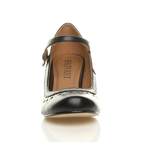 Damen Herzmuster Mary Jane Mittlerer Absatz Feinmachen Pumps Schuhe Größe 38 5 - 6