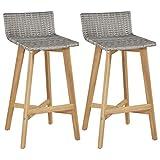 Festnight- Barstühle 2 STK. | Rustikal Barhocker | Vintage Tresenhocker | Barstuhl 2er Set | Küchenhocker | Poly Rattan Massives Akazienholz 40x45x90 cm