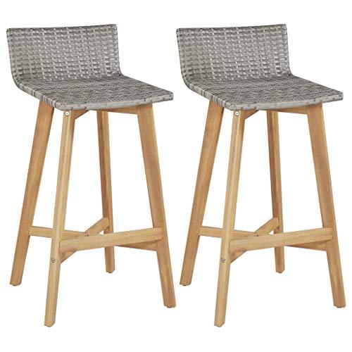 ghuanton Barstühle 2 STK. Poly Rattan Akazienholz Massiv 40x45x90 cm Möbel Stühle Hocker & Barhocker