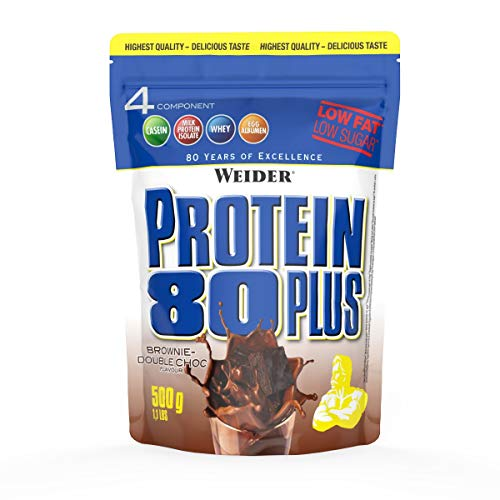 WEIDER Protein 80 Plus Eiweißpulver, Brownie-Double Choc, Low-Carb, Mehrkomponenten Casein Whey Mix für Proteinshakes, 500g (Brownies Low Carb)
