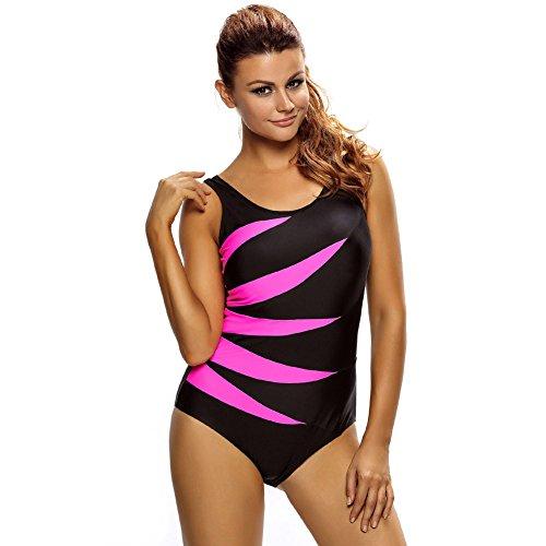 Erica Frauen Plus Size Beach One Piece Bikinis Badebekleidung Kontrast Patchwork Wireless Gepolsterte BH Badeanzug #2