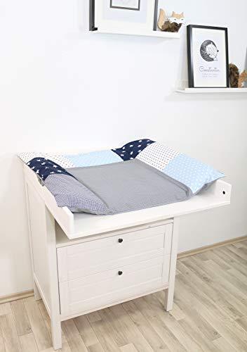 ULLENBOOM ® Bezug für Wickelauflage Blau Hellblau Grau (85x75 cm Wickelauflagenbezug, Baby Wickelunterlage aus Baumwolle, Motiv: Sterne, Punkte)
