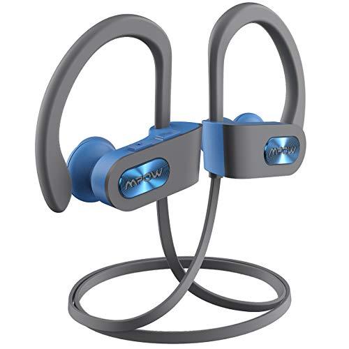 Mpow Auriculares Bluetooth Deportivos, V4.1 Impermeable IPX7 In-Ear Cascos Inalámbricos,Auricular Running Deporte Correr con Micrófono,Cancelación de Ruido CVC 6.0 para iPhone(Azul con EVA Bolsa)