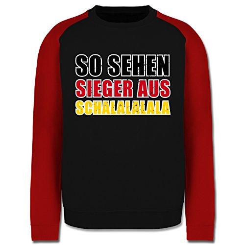 EM 2016 - Frankreich - So sehen Sieger aus! Schalalalala Deutschland - Herren Baseball Pullover Schwarz/Rot