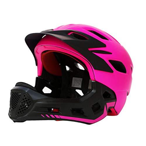 LUCKME Abnehmbare Sicherheits-Helm, Kinder-Ski-Voll-Face-Bumper Vented Head Protection für Jungen und Mädchen Fahrrad Radfahren Slide Balance Hip-Hop Skateboard Scooter,Pink