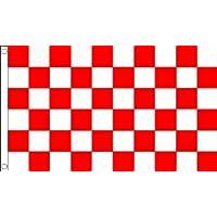 BANDERA A CUADROS ROJOS Y BLANCOS 150x90cm - BANDERA DE CARRERAS AUTOMOVILES - ROJO Y BLANCO 90 x 150 cm - AZ FLAG