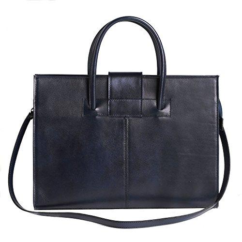 Aktentasche in italienischem Leder, Cartel, Frau Geschäfts HandBag Made in Italy 40x30x10 cm Blau