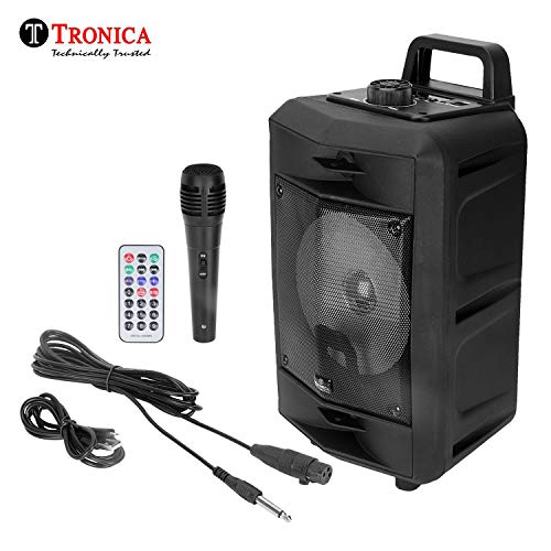 Tronica VIBRA 20W Rechargeable Outdoor Bluetooth Party Speaker with USB/FM/SD Card/Karaoke Speaker with Wired Mic & Remote (Pure Black)