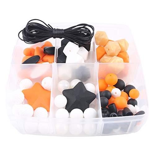 nen Perlen Halloween Kit 86pc Kürbis Mix Farbe Silikon Achteckige Perlen Set Baby Beißring Kauen Sie Schmuck Schnuller Clip Halskette Armband Montessori Spielzeug ()