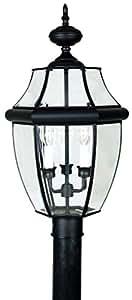 Quoizel NY9043K Newbury 3-Light Outdoor Post Lantern, Mystic Black