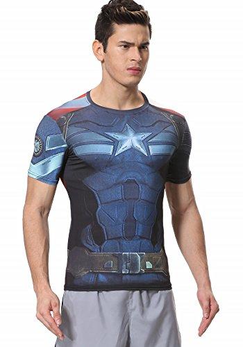 Cody Lundin uomini compressione Sonic Cap America The Avengers 2T–Shirt Maniche Bleu foncé Large