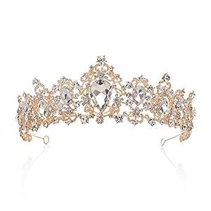 SWEETV Luxus Prinzessin Diadem Hochzeit Krone Braut Tiara mit Kristalle für Festzug Prom