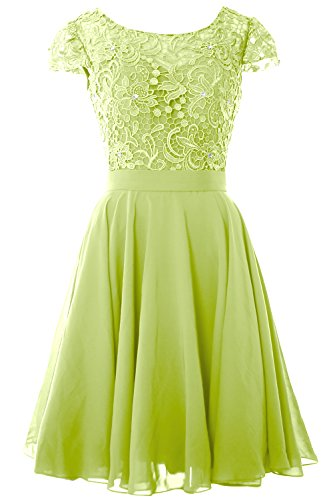 MACloth Women Cap Sleeve Mother of the Bride Dress Lace Short Formal Party Gown Pistachio