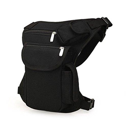 Bobury Multifunción de los hombres de deporte al aire libre de la pierna bolsa de lona de la cintura bolsa de dinero del paquete de la correa de viaje Bolsas Negro 32 * 23 * 6CM