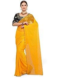 Saree Mall Women's Chiffon Saree With Blouse Piece (Tika4001_Gop1003_Yellow)
